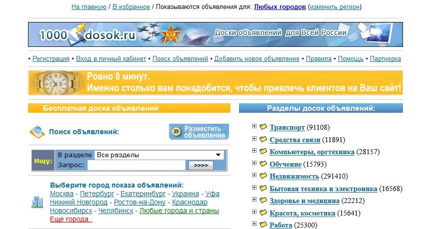 Доска объявлений Москвы с фотографией